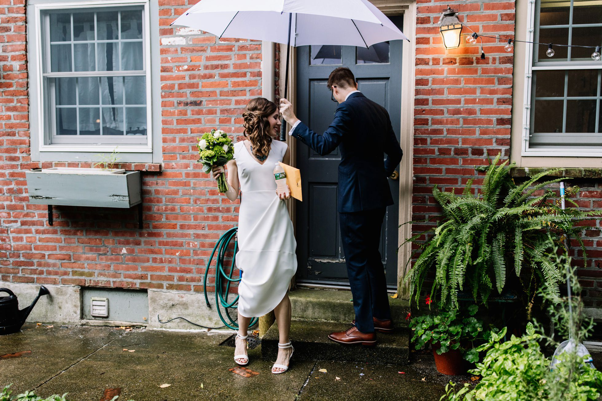 Rainy Wedding Umbrella Portraits Philadelphia