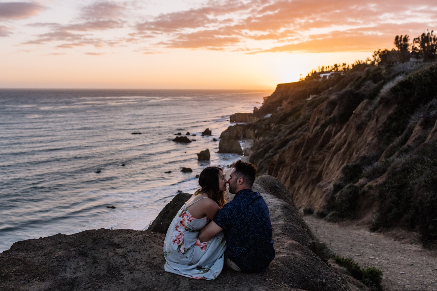 Sunset beach engagement shoot in Malibu CA
