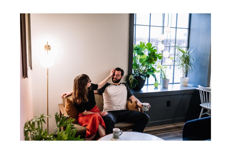 Cozy indoor coffee shop portraits