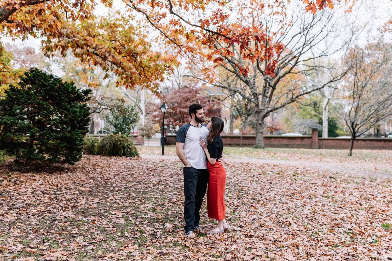 Old City Philadelphia autumn engagement portrait shoot